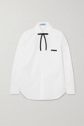 Prada Bow-detailed Cotton-poplin Shirt - White
