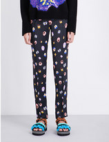 Christopher Kane Pansy-print satin trousers