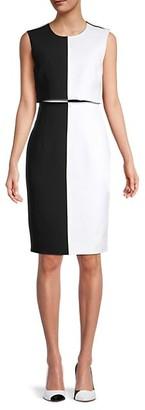 Toccin Colorblock Overlay Sheath Dress