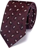 Charles Tyrwhitt Slim Burgundy Silk Paisley Luxury Tie Size OSFA
