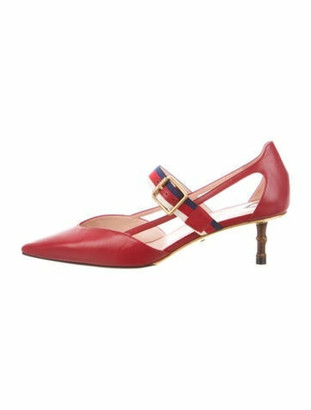 Gucci Sylvie Web Accent Leather Pumps Red
