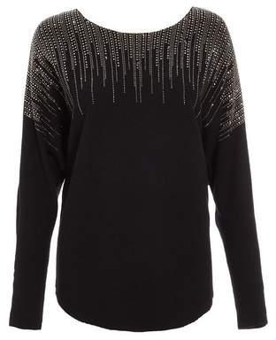Dorothy Perkins Womens *Quiz Black Light Knit Diamante Jumper, Black