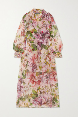 Dolce & Gabbana Floral-print Silk-organza Trench Coat - Pink