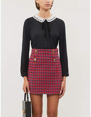 Sandro Plaid wool mini skirt