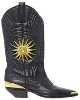 Fausto Puglisi 30mm Embossed Leather Cowboy Boots