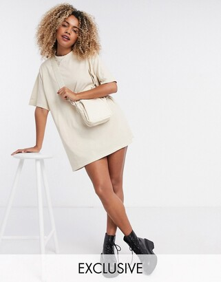 Reclaimed Vintage inspired oversized t-shirt dress in stone