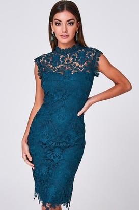 Paper Dolls Marilla Teal Crochet-Lace Bodycon Dress