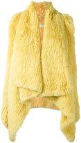 Drome draped lapin fur waistcoat
