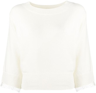 See by Chloe Lace Trim Cropped Jumper