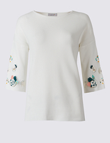 Per Una Floral Applique Round Neck Jumper