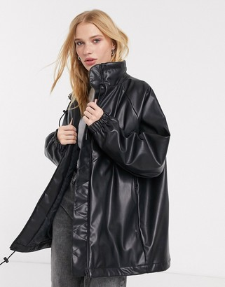 Weekday Briana faux leather bomber in black