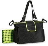 Carter's Out and About Tonal Dot Diaper Bag in Black and Lime