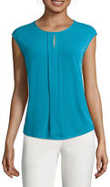 Liz Claiborne Sleeveless Pleated-Front Printed Knit Top