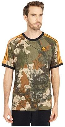 adidas Camo All Over Print Tee (Hemp/Brown Oxide/Earth Green/App Signal Orange) Men's Clothing