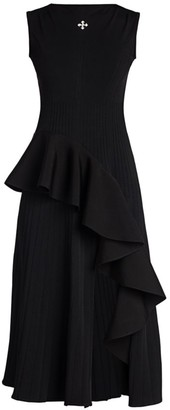 Off-White Sleeveless Ruffle Midi Dress