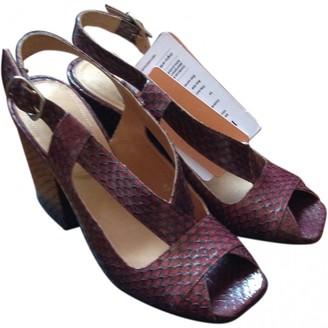 Dries Van Noten Burgundy Leather Sandals