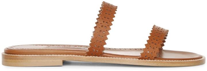 Manolo Blahnik Riesa flat perforated leather slides