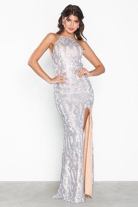 Honor Gold Harley Silver Sequin Backless Maxi Dress With Split