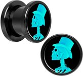 Body Candy Black Anodized Steel Greenish Blue Top Hat Skeleton Cameo Screw Fit Plug Pair 00 Gauge