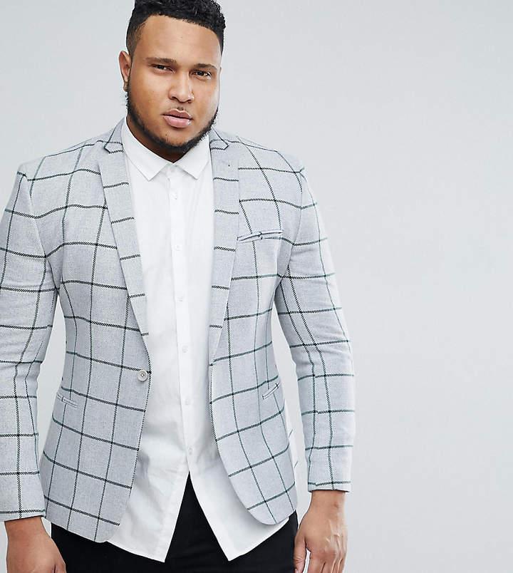 Asos Design PLUS Super Skinny Blazer In Grey Wool Mix With Green Windowpane Check