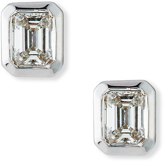 Roberto Coin 18k White Gold Emerald-Cut Diamond Stud Earrings