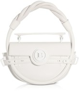Balmain White Leather Bbuzz Circle 21 Top Handle Bag