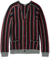 Lanvin Striped Brushed Merino Wool Cardigan
