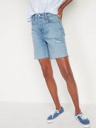 Old Navy Extra High-Waisted Sky Hi Straight Button-Fly Cut-Off Jean Shorts for Women -- 7-inch inseam