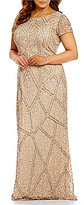 Adrianna Papell Plus Geo-Pattern Beaded Short Sleeve Scoop Back Gown