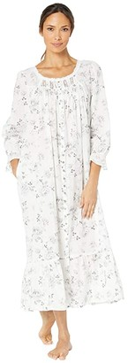 Eileen West Cotton Lawn Woven Long Sleeve Ballet Button Front Coat (White Ground/Grey Roses) Women's Pajama