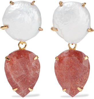 Bounkit Convertible 14-karat Gold-plated Pearl And Sunstone Earrings