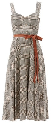 STAUD Inda Belted Checked Midi Dress - Beige Multi