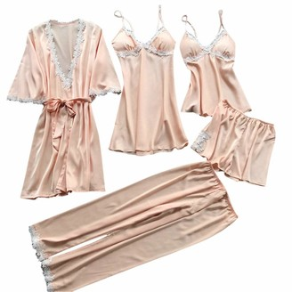 Arestory Womens 5PC Sleepwear Dress Outfit Sets Pajamas Silk Lace Underwear Babydoll Suit Maxi Dress Long SleeveSexy Lingerie Nightwear Dressing Ladies Oversized Slim Stretchy Evening Dress with Belt Beige