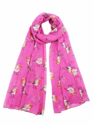 Claudia&Jason Claudia & Jason Watercolour Robin Bird Printed Large Fashion Scarf Wraps Shawls Scarves For Ladies Women In Green Grey Red Blue Pink And Cream Oversized (Hot Pink)