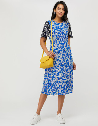 Under Armour Delta Contrast Print Midi Dress with LENZING ECOVERO Blue