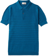 John Smedley - Zuber Striped Knitted Cotton Polo Shirt