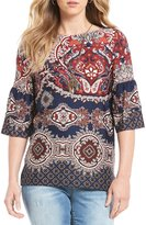 I.N. Studio 3/4 Double Flounce Sleeve Exploded Paisley Print Top