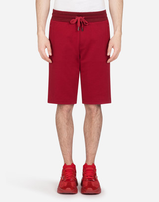 Dolce & Gabbana Jersey Bermuda Jogging Shorts With Small Logoed Plaque