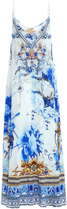 Camilla Layered Printed Silk Crepe De Chine And Chiffon Maxi Slip Dress