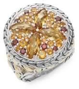 John Hardy Batu Kawung Citrine, Garnet, Spessartine, 18K Yellow Gold & Sterling Silver Ring