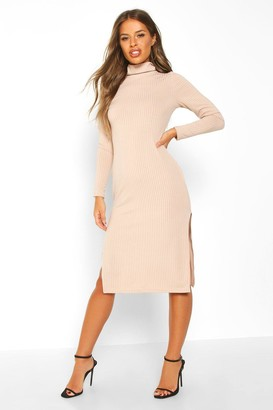 boohoo Petite Rib Roll Neck Split Hem Midi Dress