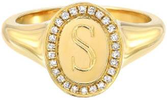 Zoe Lev Jewelry 14k Gold Diamond Signet Initial Ring