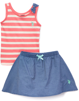 U.S. Polo Assn. Coral Stripe & Bow Tank & Skort - Infant & Toddler