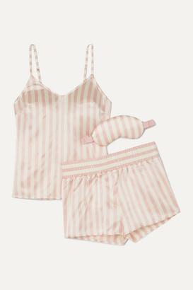 Morgan Lane Mackenzie Striped Silk-satin Pajama And Eye Mask Set - Pink