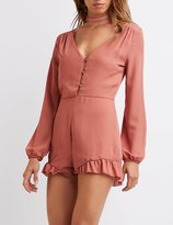 Charlotte Russe Ruffle-Trim Button-Up Romper
