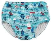 I Play Wavy Boats Snap Swim Diaper in Aqua