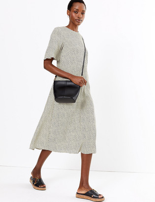 Marks and Spencer Printed Crew Neck Midi Relaxed Dress
