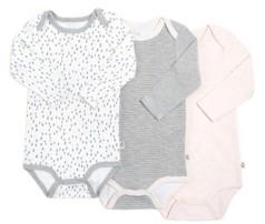 Gertex Snugabye Dream Baby Girls Long Sleeve Bodysuit 3 Pack in Giftbox