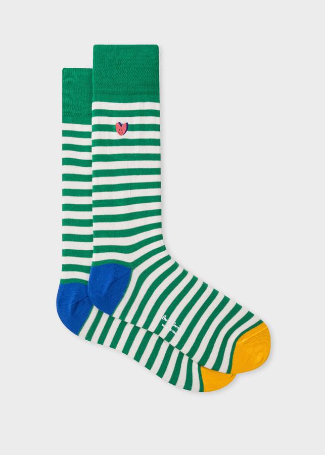 Men's Green Stripe 'Smiling Heart' Motif Socks