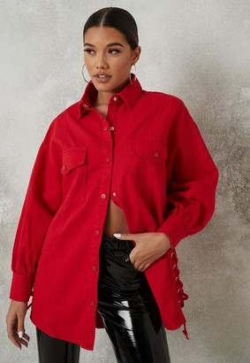 Missguided Red Lace Up Side Denim Shirt